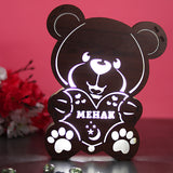 personalized wooden LED teddy