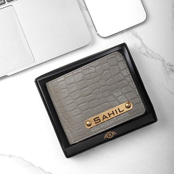 Personalized Men's Wallet With Charm Gray Color