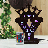 Alphabet Y Wooden Multi Color Led Name Board