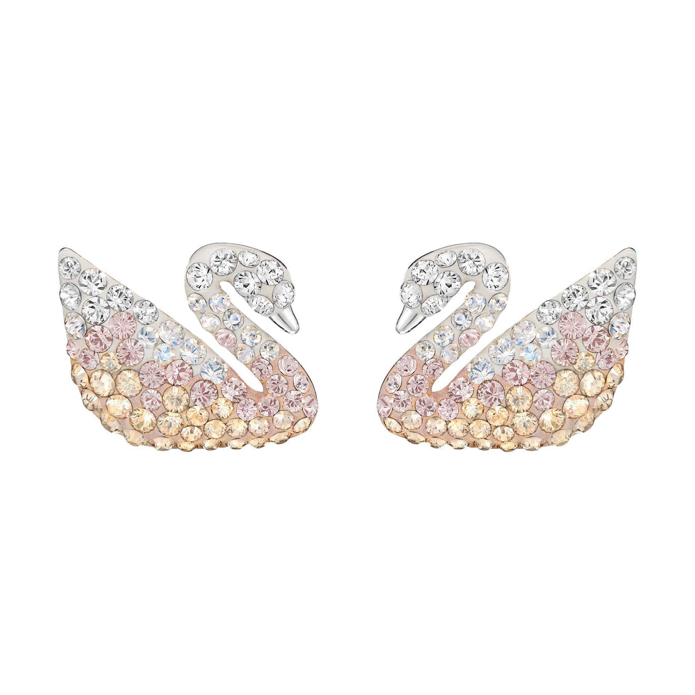 iconic-swan-pierced-earrings-large-multi-coloured-rhodium-plating