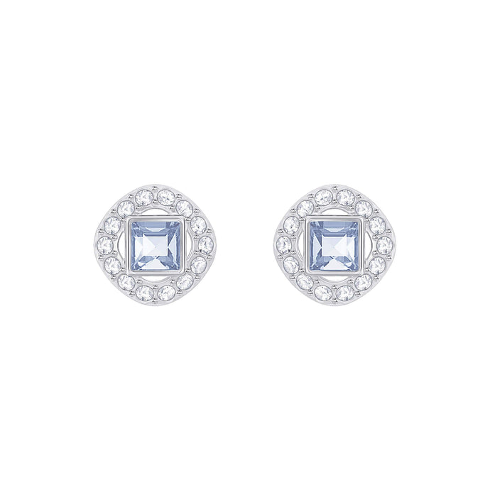 angelic-square-pierced-earrings-blue-rhodium-plated
