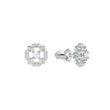 Load image into Gallery viewer, Sparkling Dance Flower Pierced Earrings, White, Rhodium plated