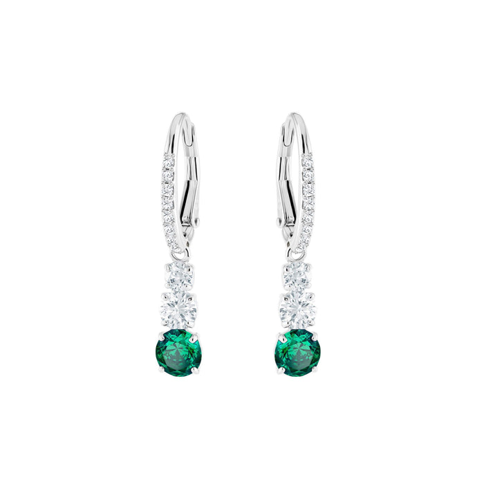 attract-trilogy-round-pierced-earrings-green-rhodium-plating