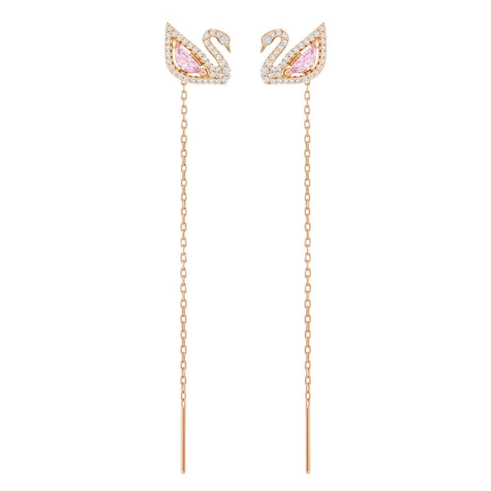 dazzling-swan-pierced-earrings-multi-colored-rose-gold-plating