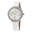 Load image into Gallery viewer, crystal-frost-watch-leather-strap-white-stainless-steel