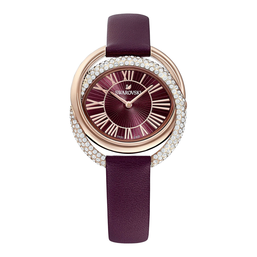 duo-watch-leather-strap-dark-red-rose-gold-tone-pvd
