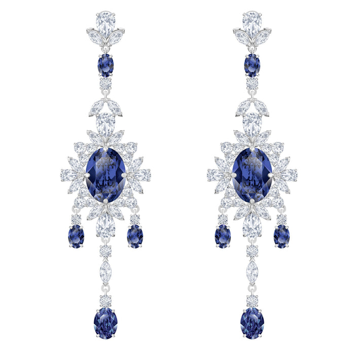 palace-chandelier-pierced-earrings-blue-rhodium-plated