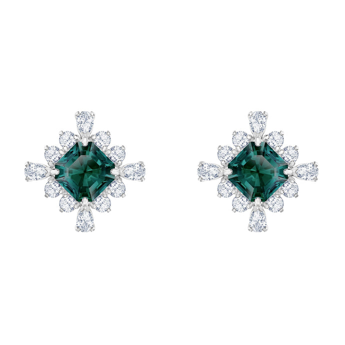 palace-stud-pierced-earrings-green-rhodium-plated