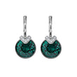 Load image into Gallery viewer, bella-v-pierced-earrings-green-rhodium-plated