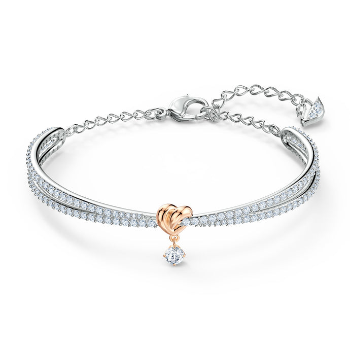 lifelong-heart-bangle-white-mixed-metal-finish
