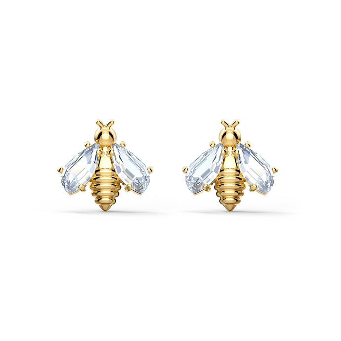 eternal-flower-bee-pierced-earrings-white-gold-tone-plated
