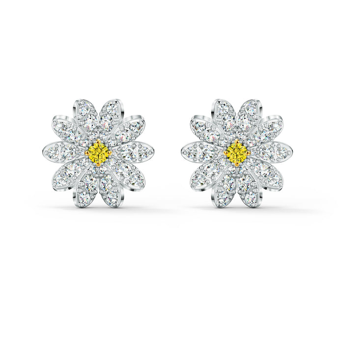 eternal-flower-stud-pierced-earrings-yellow-mixed-metal-finish