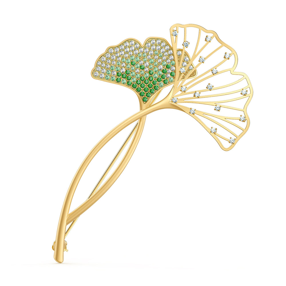 stunning-ginko-brooch-green-gold-tone-plated