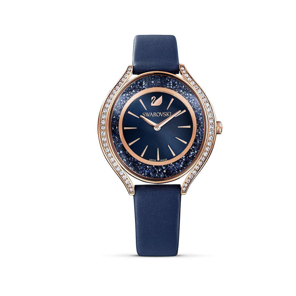 crystalline-aura-watch-leather-strap-blue-rose-gold-tone-pvd