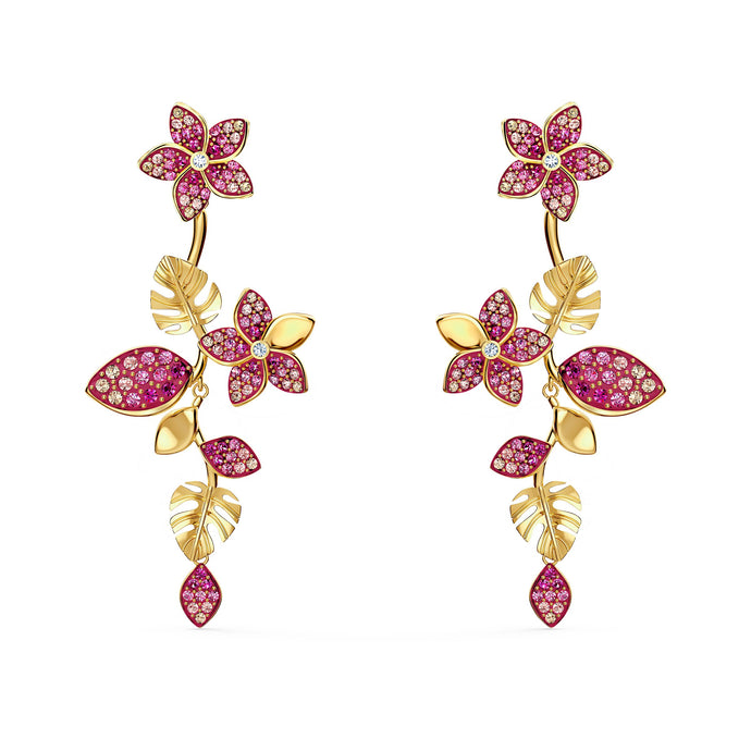 tropical-flower-pierced-earrings-pink-gold-tone-plated