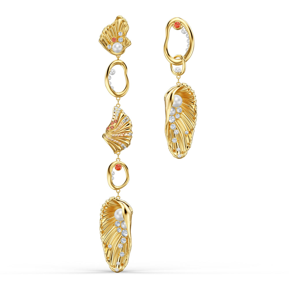 shell-angel-pierced-earrings-light-multi-colored-gold-tone-plated
