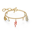 Load image into Gallery viewer, shell-coral-bracelet-red-gold-tone-plated
