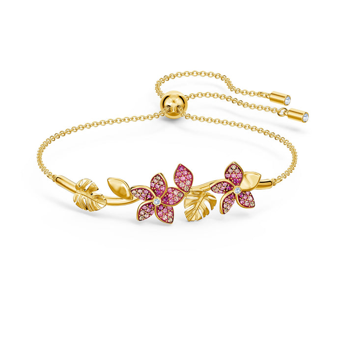 tropical-flower-bangle-pink-gold-tone-plated