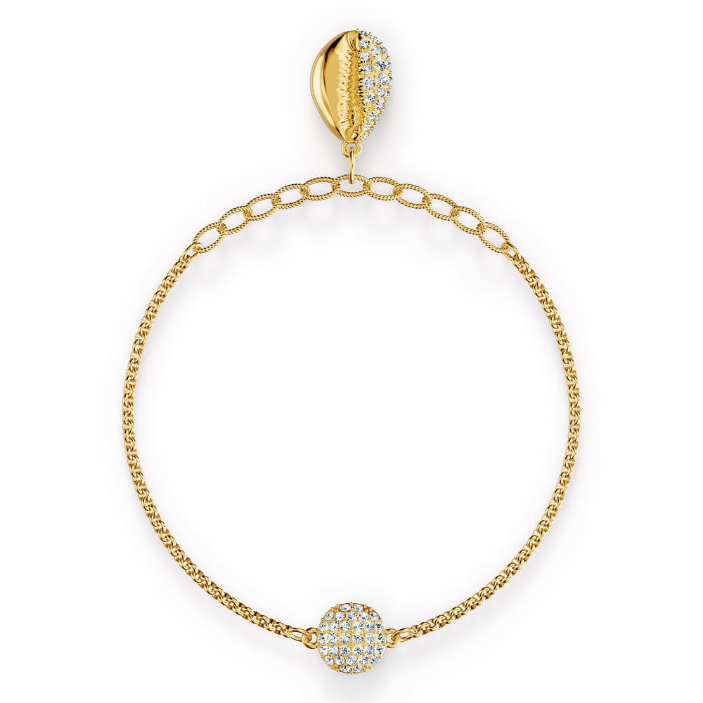 Swarovski-Remix-Collection-Shell-Strand-White-Gold-tone-plated