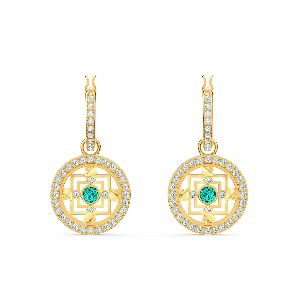 swarovski-symbolic-mandala-hoop-pierced-earrings-green-gold-tone-plated
