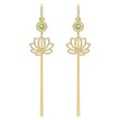 Load image into Gallery viewer, swarovski-symbolic-lotus-pierced-earrings-green-gold-tone-plated