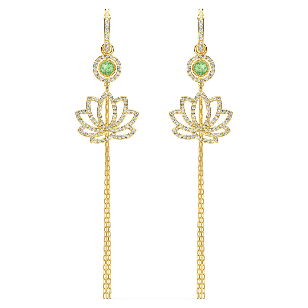 swarovski-symbolic-lotus-pierced-earrings-green-gold-tone-plated