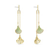 Load image into Gallery viewer, stunning-ginko-mobile-pierced-earrings-green-gold-tone-plated
