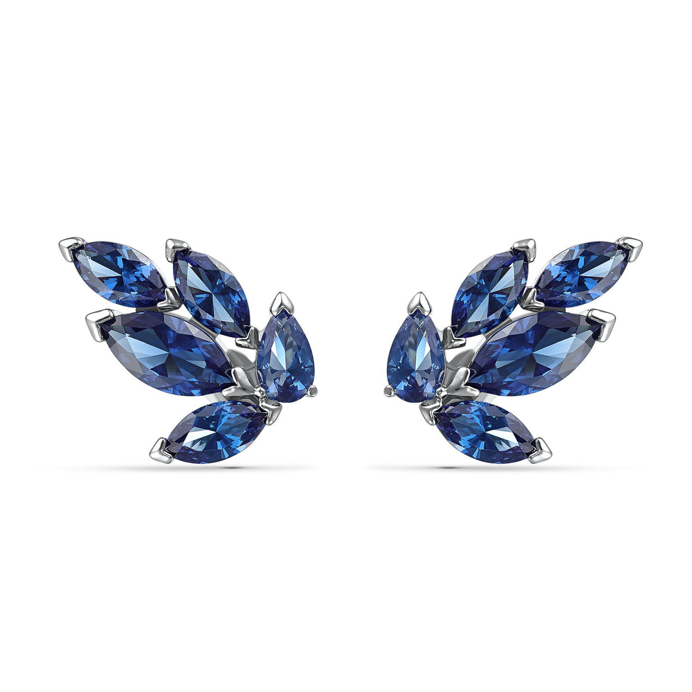 louison-stud-pierced-earrings-blue-rhodium-plated