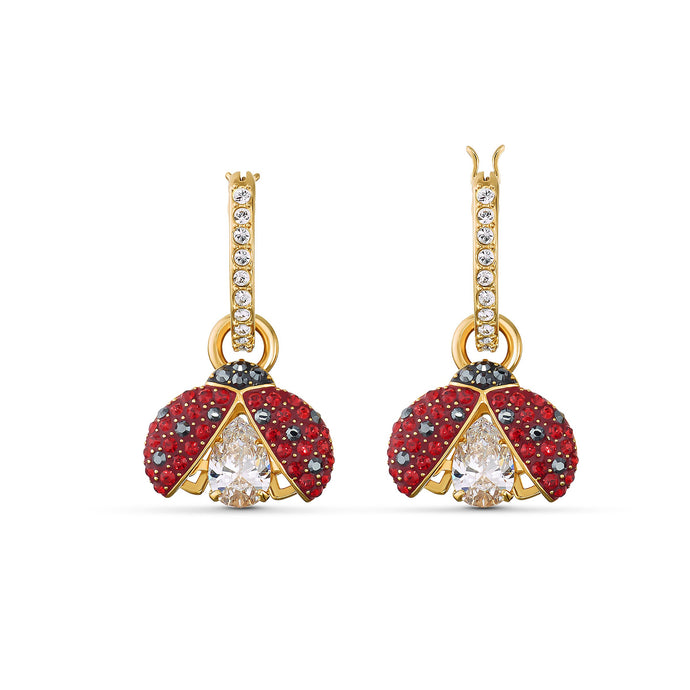 swarovski-sparkling-dance-ladybug-pierced-earrings-red-gold-tone-plated