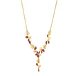 Load image into Gallery viewer, tropical-flower-y-necklace-pink-gold-tone-plated