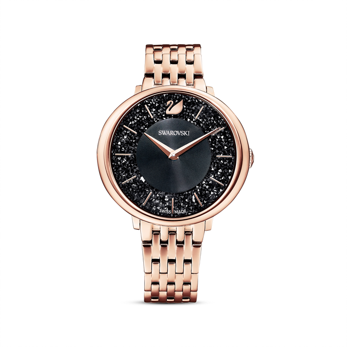 Crystalline Chic Watch, Metal bracelet, Black, Rose-gold tone PVD
