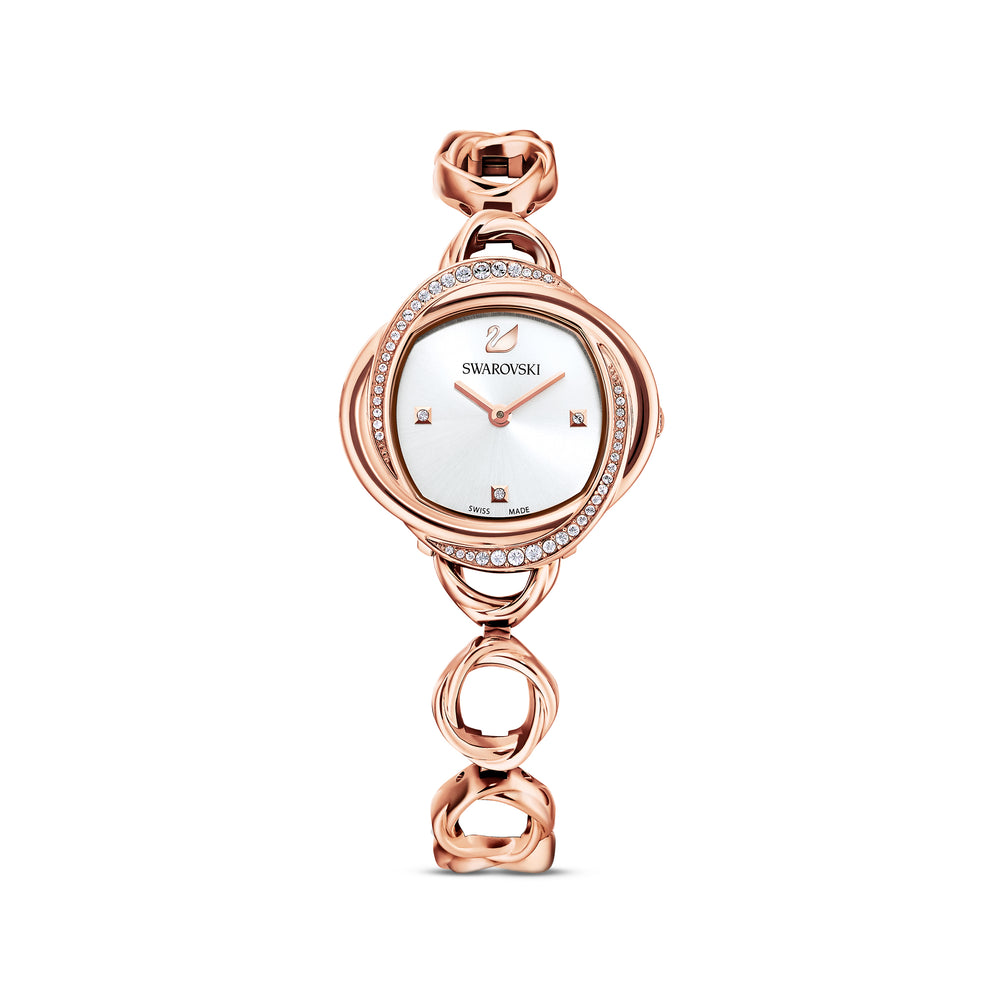 Crystal Flower Watch, Metal bracelet, Rose gold tone, Rose-gold tone PVD