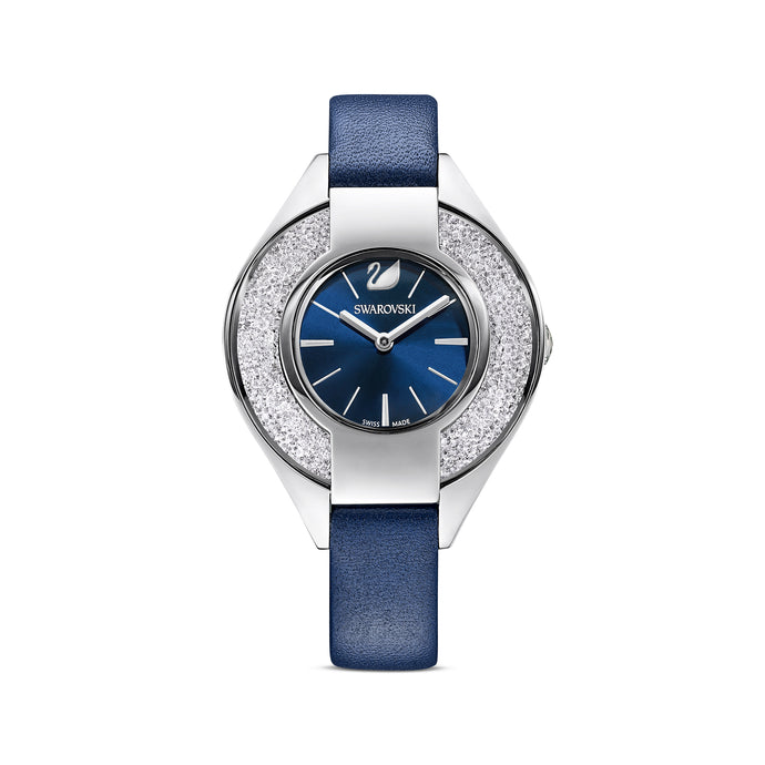 Crystalline Sporty Watch, Leather strap, Blue, Stainless steel