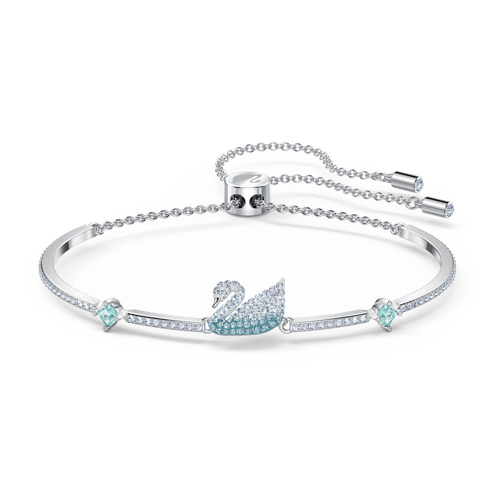 Iconic Swan Bangle, Blue, Rhodium plated