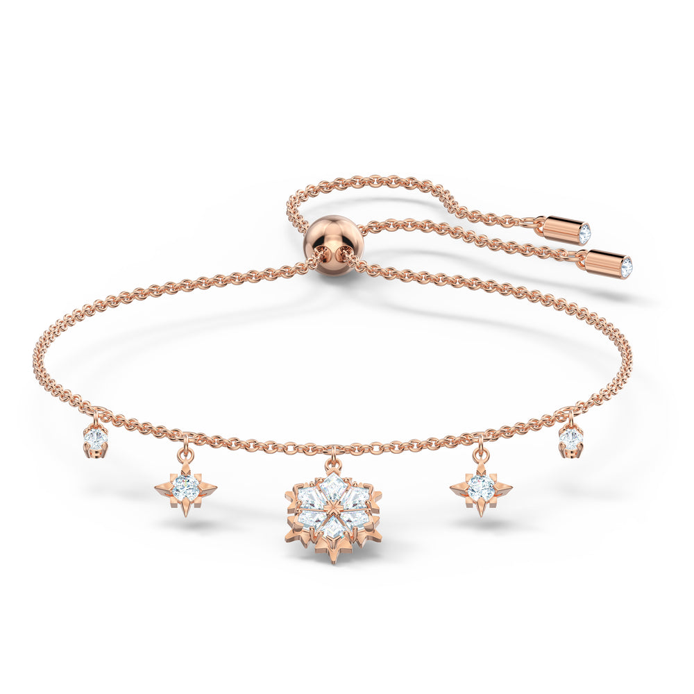 Magic Bracelet, White, Rose-gold tone plated