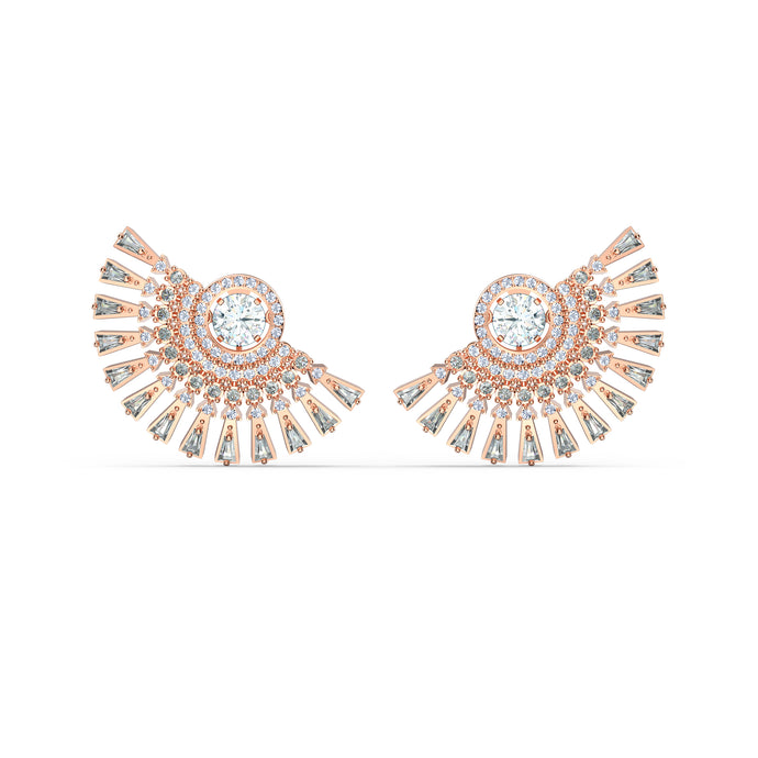 Swarovski Sparkling Dance Dial Up Pierced Earrings, Grey, Rose-gold tone plated