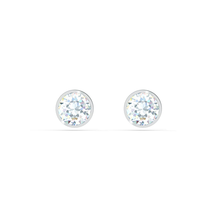 Tennis Stud Pierced Earrings, White, Rhodium plated