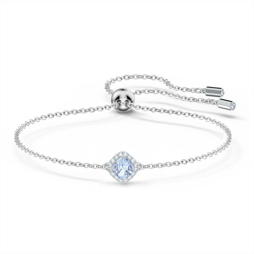 Angelic Cushion Bracelet, Blue, Rhodium plated