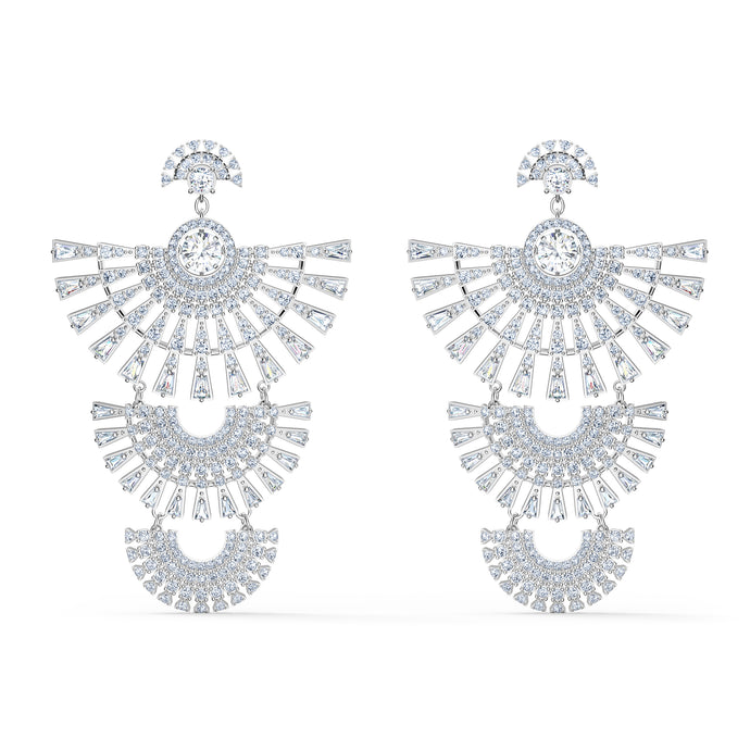 Swarovski Sparkling Dance Dial Up Pierced Earrings, White, Rhodium plated