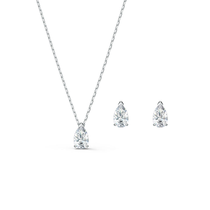 Attract  Pear Set, White, Rhodium plated