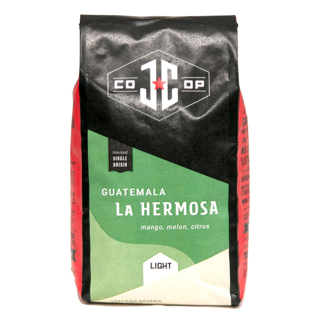 Photo of Just Coffee's organic, fair trade coffee Guatemala La Hermosa single origin in a 12-ounce bag.