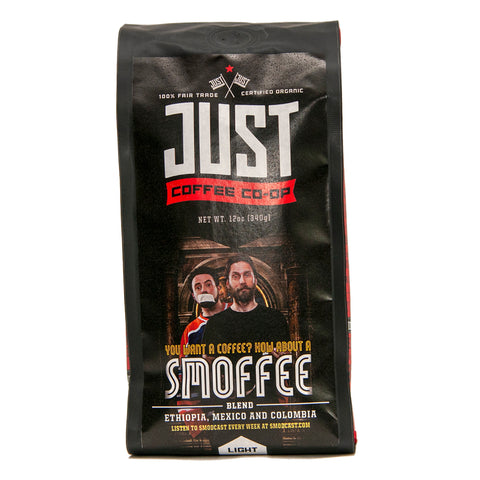 Photo of Just Coffee's organic, fair trade coffee Smoffee Blend in a 12-ounce bag.
