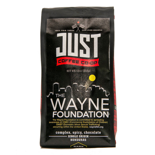Photo of Just Coffee's organic, fair trade coffee Wayne Foundation blend in a 12-ounce bag.