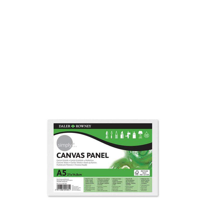 Daler-Rowney Simply Canvas Panel A5 Pack of 3