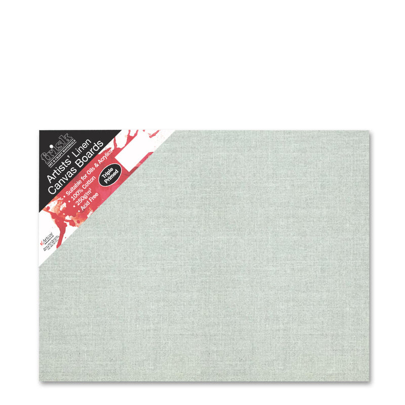 Frisk Natural Linen Canvas Board Primed 18inch x 14inch Pack of 4