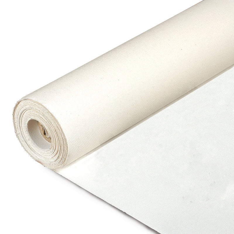 Image of a Loxley Cotton Canvas Roll that is primed and measures 1.6 by 10 metres, weighs 11 oz and 380gsm