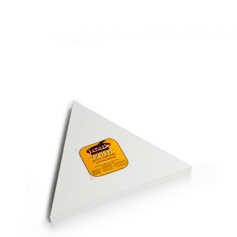 Front image of a Loxley Gold Triangular Chunky Canvas that has 18 inch sides and comes in a Box of 2
