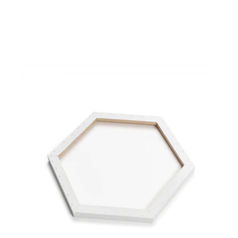 Image of the back of a Loxley Gold Hexagonal Chunky Canvas that has 12 inch sides and comes in a Box of 2