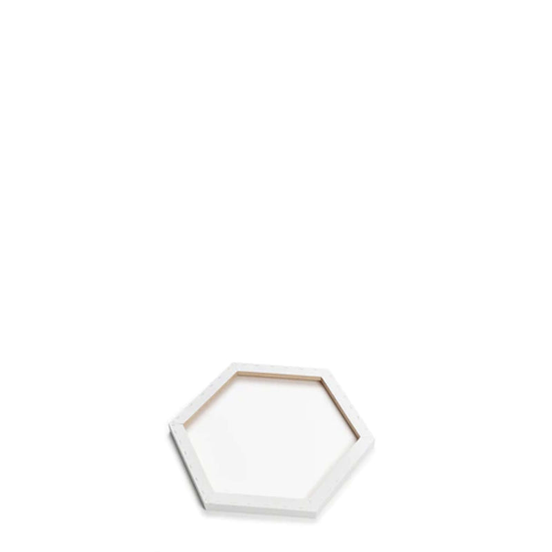 Back image of a Loxley Gold Hexagonal Chunky Canvas that has 6 inch sides and comes in a Box of 2