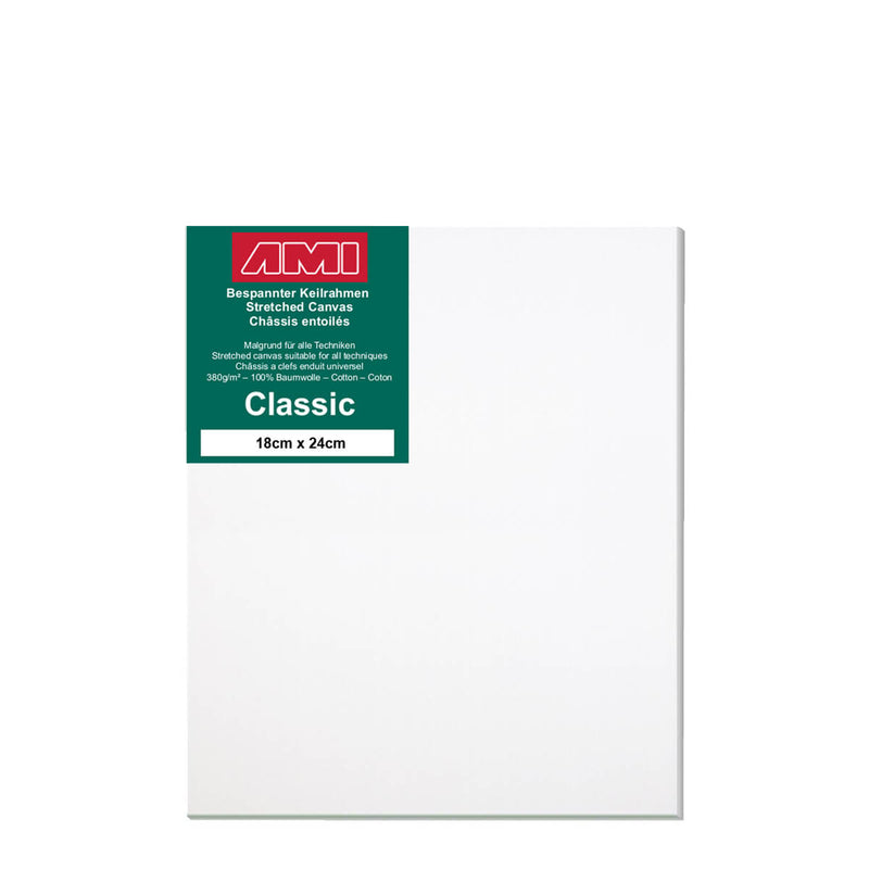 A front facing classic cotton canvas from AMI that is white and measures 24cm x 18cm